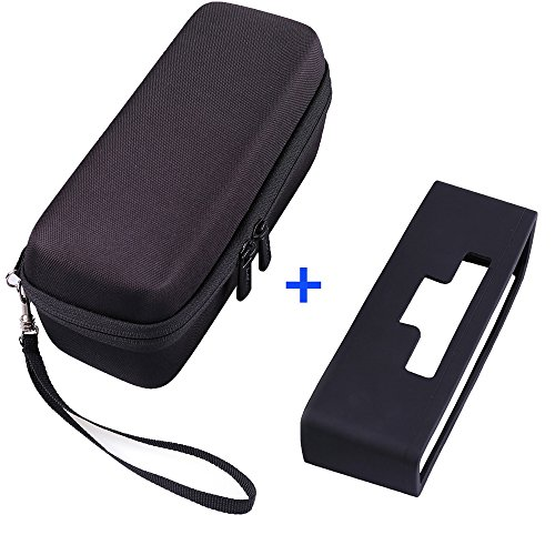 Hard Case Travel Bag and Soft Silicone Cover for Bose SoundLink Mini/Mini 2 Bluetooth Speaker by LotFancy, Black