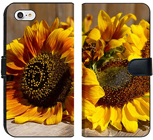 Apple iPhone 7 and iPhone 8 Flip Fabric Wallet Case Image ID 32455065 Beautiful Sunflowers on Wooden Bench Outdoors