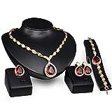 4 PCS Alloy Rhinestone Teardrop Jewelry Set Golden Necklace Earrings Bracelet and Ring Wedding Jewellery Gift Set for Women