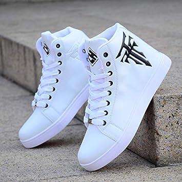 a294abb2 AIMENGA Zapatos para Hombres Zapatos Altos, Zapatos Blancos Zapatos Altos,  Zapatos De Skate para Hombres, Blanco, 39: Amazon.es: Deportes y aire libre