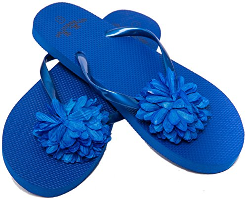 Blue Flower Flip Flops - Flip Flops Womens Pool Beach Shoes with Flower Pattern- Floral Design (Medium/US 7-8, Blue)