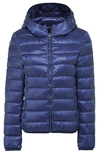 Sawadikaa Women's Hooded Packable Short Quilted Lightweight Down Puffer Jacket Coat Down Parka Jacket Navy Small