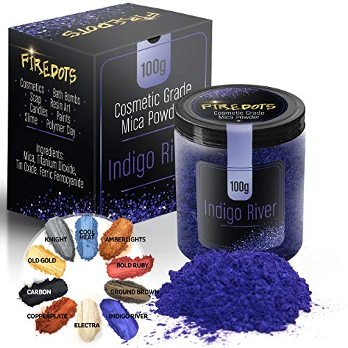 FIREDOTS Indigo River Mica Pigment Powder, 3.5 Ounces, 100 Grams, Epoxy Resin Color Pigment, Epoxy Resin Dye, Mica Powder for Soap Making, Slime and Nail Pigment Powder, Bath Bomb Colorant (Resin Polymer Between Difference And)