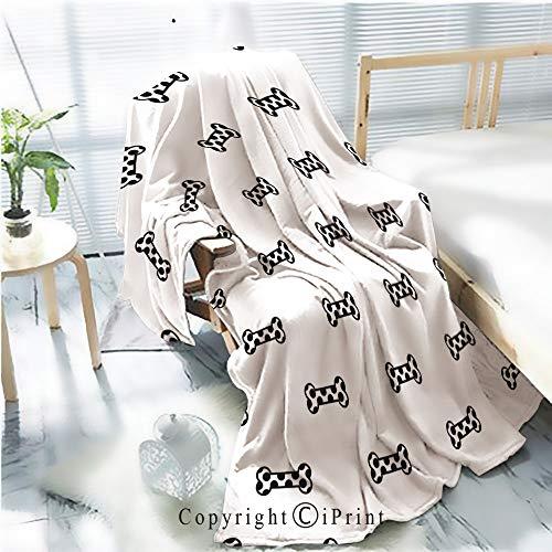 Printed Soft Blanket Premium Blanket,Dog Bone Doodle Illustration Seamless Pattern Wallpaper Background Microfiber Aqua Blanket for Couch Bed Living Room,W59.1 xH78.7