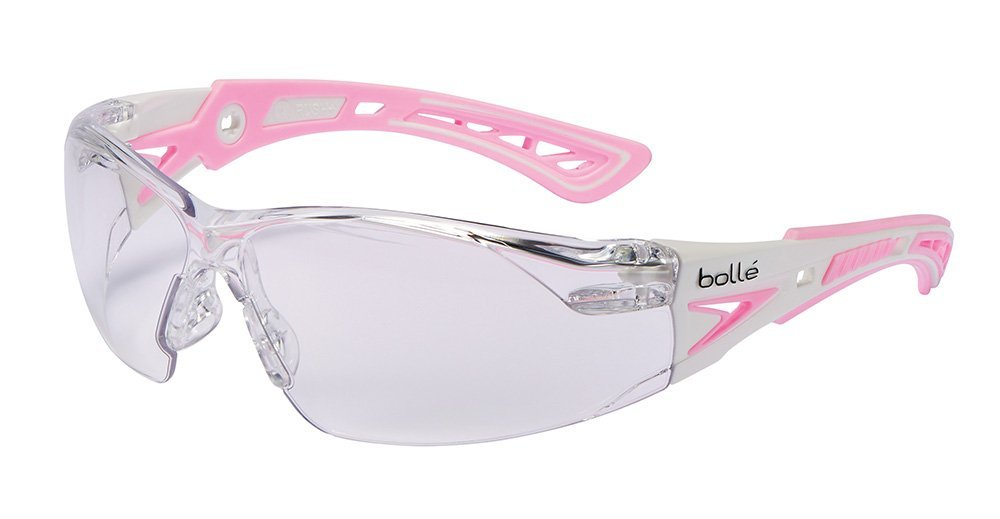 Bolle Safety Rush+ Safety Glasses, Pink & White Frame, Clear Lenses by Bolle