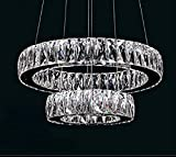 Dearlan Modern Big Crystal 2 Ring Chandeliers D19.7+11.8″ Ceiling Lighting Fixture Chandelier Lighting for Living Room Hotel Hallway Foyer Entry Bed Room Review