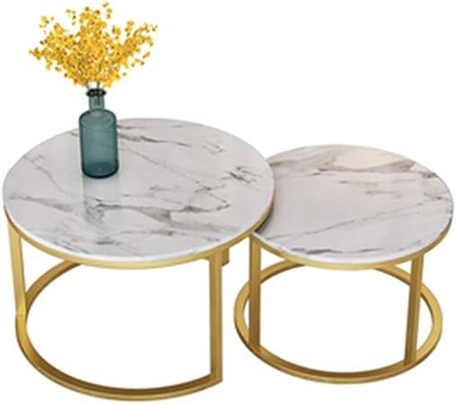 Table XIA Nordic Redonda de mármol Mesa de Centro Creativo Moderno de la Sala de Estar Oficina de Hierro Forjado Sofá Mesa Lateral (Juego) (Color : B): Amazon.es: Hogar