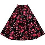 Partiss Women Retro Elegent One piece Bubble Pleated skirt(Chinese M,Rose printing)