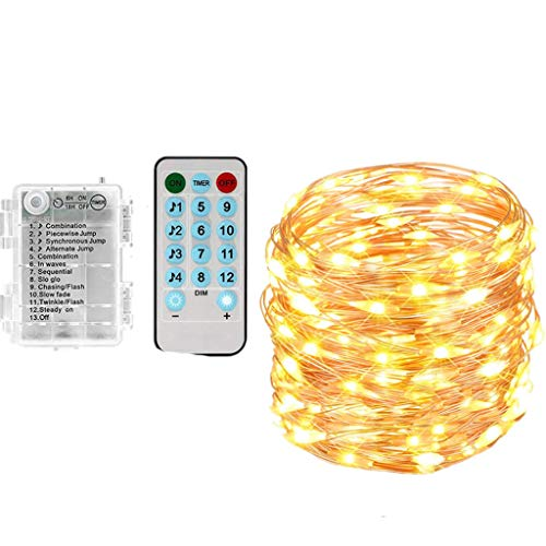 chenqiu 13m Copper String Music Sound Control lamp, Indoor Waterproof Remote Control lamp Bedroom Courtyard Party Light
