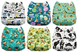 #2: Mama Koala One Size Baby Washable Reusable Pocket Cloth Diapers, 6 Pack with 6 One Size Microfiber Inserts (Gathering)