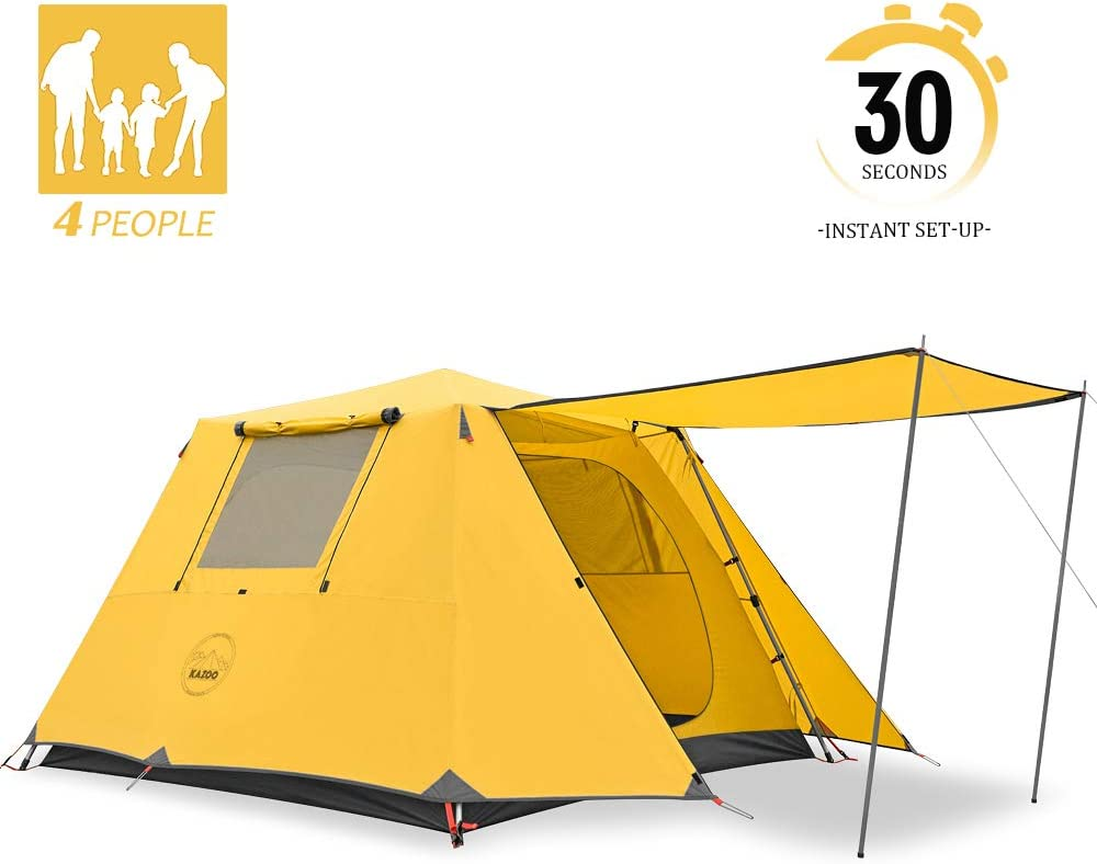 KAZOO Family Camping Tent Large Waterproof Pop Up Tents 4/6/8 Person Room Cabin Tent Instant Setup with Sun Shade Automatic Aluminum Pole
