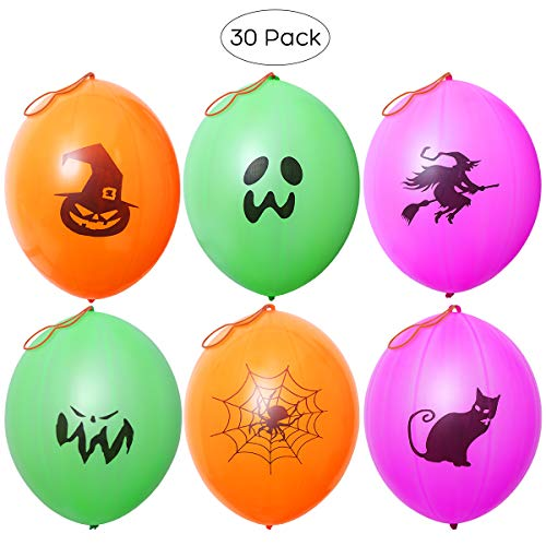 Halloween Punch Ball Balloons (Halloween Party Favors Punch Balloons for Kids Halloween Party Games with 6 Patterns - 30)