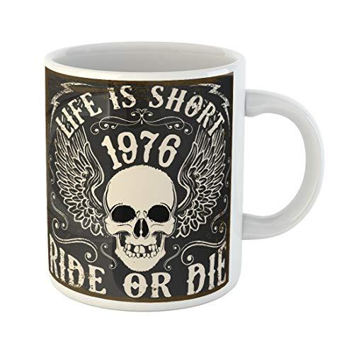 Semtomn Funny Coffee Mug Motorbike Motorcycle Skull Tee Motor Biker Badge Racer Cafe 11 Oz Ceramic Coffee Mugs Tea Cup Best Gift Or Souvenir