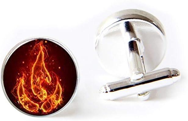 Vintage Signed 925 Sterling Silver Flames Fire Mens Cufflinks