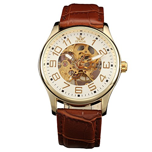 Gold Watch Transparent (Sewor Mens Skeleton Transparent Mechanical Watch Brown Leather Skeleton Movement (Gold White))