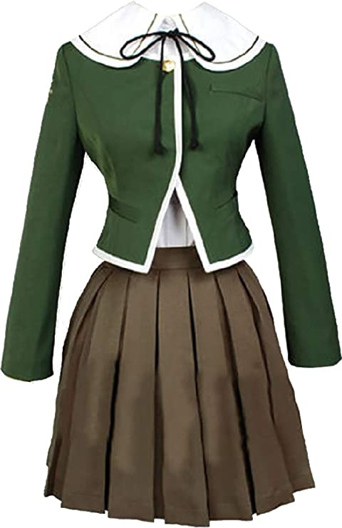Danganronpa Dangan Ronpa Fujisaki Chihiro Cosplay Costume Brown  Dress Full Set