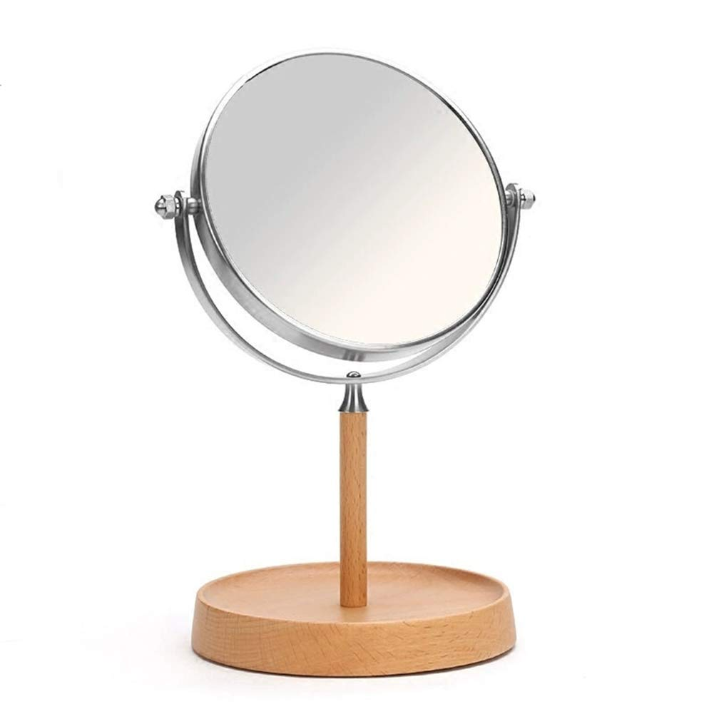 360o Rotating Double-Sided Silver Mirror, Portable, Desktop Vanity Mirror, Enlarged, Suitable for Rooms, Offices, Hotels, Changing Rooms