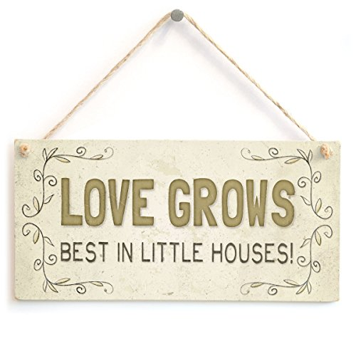 Meijiafei Love Grows Best in Little Houses! - Beautiful Country Cottage Home Accessory Gift Sign 10