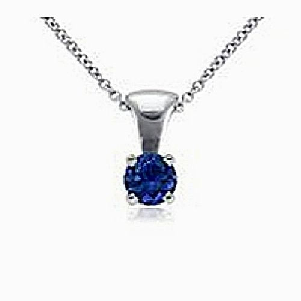 14kt White Gold 5mm Round Blue Sapphire Pendant A