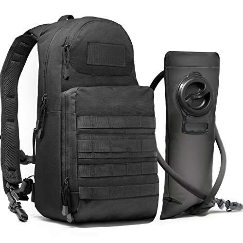 Tactical Molle Hydration Pack Backpack with 3L Water Bladder. Lightweight & Durable Military EDC Daypack Keeps Water Cold for Up to 4 Hours | Perfect for Hiking Running Cycling Camping Biking Walking