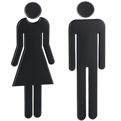 03332ad0a3ce 1 Paio WC Segno Targa Toilette Bagno Porta Targhetta Adesiva Segnaletica Simbolo  Uomo e Donna Decorazione Domestica Nero: Amazon.it: Casa e cucina