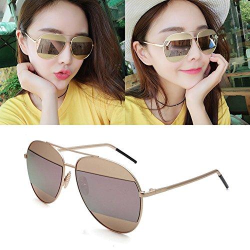 sol Clásico Luz WYYY Sra Redonda de Pink UVA Color 100 Polarizada Protección gafas Cara Azul UV Retro Hombres Protección Solar Decoración Anti zngwgE8x