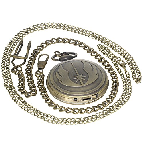 Vintage Carved Medal Pattern Brass Antique Case Pocket Watch Open Face Fob for Men Women 1 PC Necklace 1 PC Clip Key Rib Chain (Face Pocket Watch Timepiece)