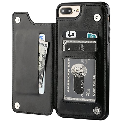 iPhone 7 Plus iPhone 8 Plus Wallet Case with Card Holder, OT ONETOP Premium PU Leather Kickstand Card Slots Case,Double Magnetic Clasp and Durable Shockproof Cover 5.5 Inch(Black)