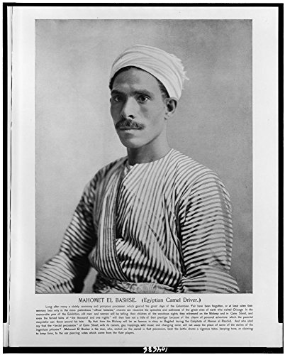 1893 Photo Mahomet El Bashse. (Egyptian camel driver) / Franklin Co., Eng., Chi. Mahomet El Bashse, half-length portrait, facing left, in traditional Egyptian costume. Location: Chicago, Egypt, Illino