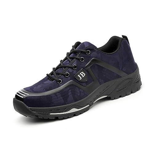 Zapatos de Seguridad Hombres con Punta de Acero Zapatillas de Trabajo Calzado Ultra Liviano Reflectivo Transpirable Ligeros Negro Camo 36-45: Amazon.es: ...