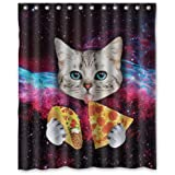"Custom Space Nebula Universe Cat Eat Pizza Shower Curtain Stylish Waterproof Polyester Fabric Bathroom Deco 60"" x 72"""