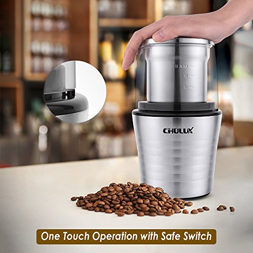 CHULUX Electric Spices and Coffee Grinder with 2.5 Ounce Two Detachable Cups for Wet/Dry Food,Powerful Stainless Steel Blades and Cleaning Brush by CHULUX (Image #2)'