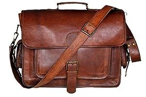 cuero 17 Inch Vintage Handmade Leather Messenger Bag for Laptop Briefcase Best Computer Satchel School Distressed Bag by Handmadecraft