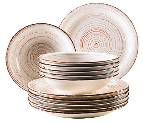 Mäser, Bel Tempo Series,12 Piece Dinner Plate Set, Crockery in Wood Look, Handpainted Ceramic Dinnerware Set in Beige for 6 People ()