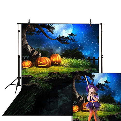 Halloween Night Moon (Allenjoy 5x7ft Happy Halloween Night Moon Stars River Pumpkin Blue Sky Halloween Photography Backgrounds Customized Photographic Backdrops for Photo)