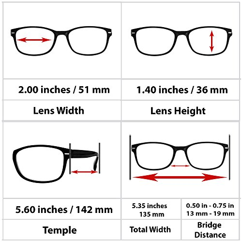 Reading Glasses 2 Pack Black_ Always Have a Timeless Look, Crystal Clear Vision, Comfort Fit With Sure-Flex Spring Hinge Arms & Dura-Tight Screws 100% Guarantee +2.00 by TruVision Readers (Image #4)