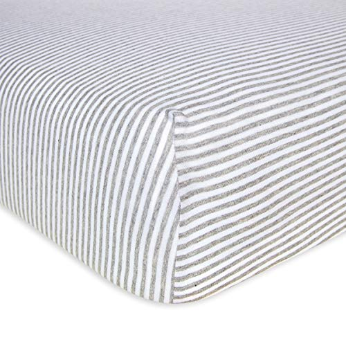 Burt's Bees Baby - Fitted Crib Sheet, Boys & Unisex 100% Organic Cotton Crib Sheet For Standard Crib and Toddler Mattresses (Heather Grey Thin Stripes) (Best Brands Of Bedsheets In India)