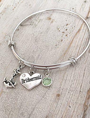Green August Birthday Bridesmaid Bangle Bracelet with Anchor Wedding Gift