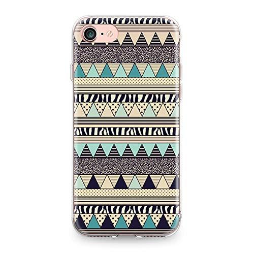 - Yellow Blue Tribal Stripes iPhone 7 PLUS Case BIGGER SCREEN Geometric Stripe Pattern iPhone 8 PLUS Cover Retro Aztec Folk Art Vintage iPhone Back Case For Girls Women Stylish Fashion Slim Soft TPU