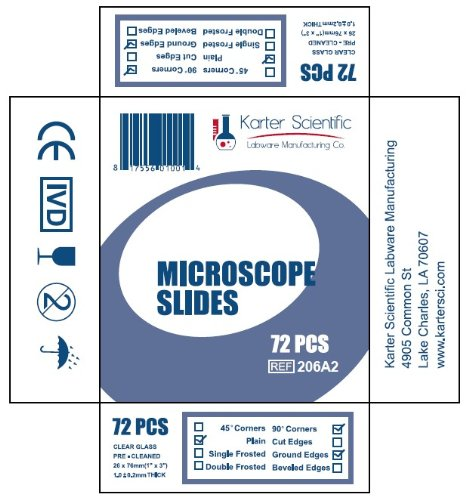 Microscope Slides, Ground Edges, Plain, 90 Corners, 3x1, Karter Scientific 206A2 (Pack of 72)