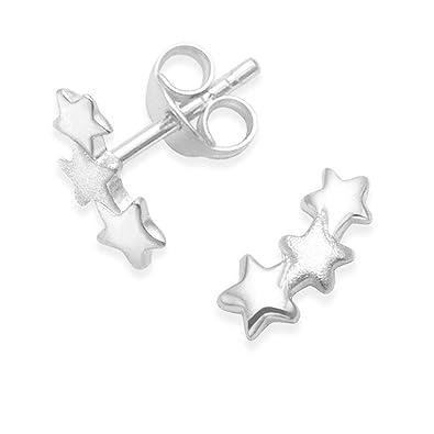 d0c6b60bd007 Heather Needham Pendientes de estrella de plata de ley - Pendientes de tres  estrellas