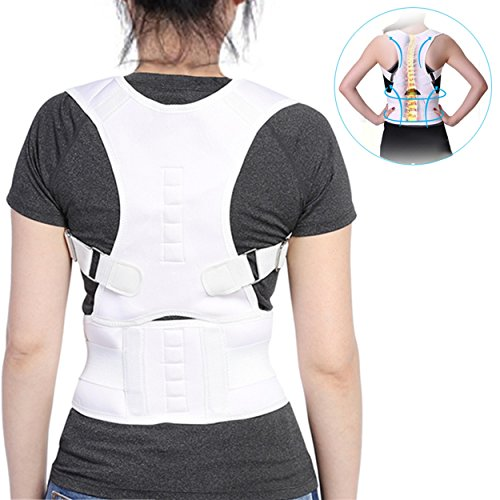 Corrector Back Lumbar Brace Posture Belt, Prevents Slouching Sit Work,Lower and Upper Adjustable Support Band Relieve Neck Spine Pain Thoracic Pressure (2XL) (Prevent Neck)