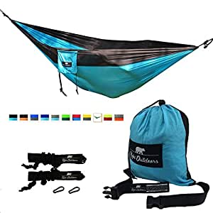 (Black/Light Blue) Koki Outdoors Lightweight Double Hammock - Heavy Duty Parachute Nylon - Tree Straps, Steel Carabiners and Carry Bag Included