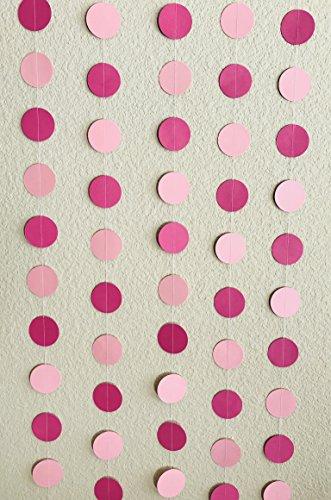Circular Dots Hangings Set (5, Berry Pink and Baby Pink Polka Dots Hangings)