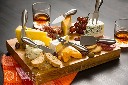 LUNAR Premium 6-Piece Cheese Knife Set - Complete Stainless Steel Cheese Knives Collection by ICOSA Living (Image #4)