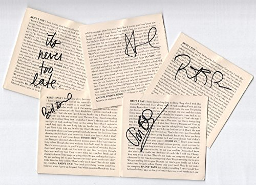 Spoon band REAL hand SIGNED Set of 5 Lyric Booklet Insert Sleeves Signed (Lyric Sleeve)
