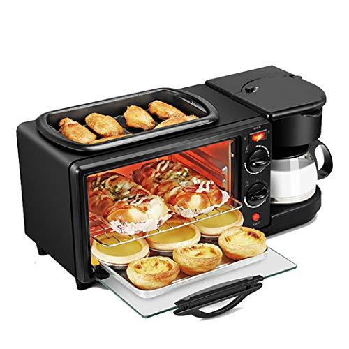 NOKUN Family Three-in-One Retro Breakfast Machine, Toaster Oven Pan Three-in-One Multi-Function Breakfast Center, Regular, Black