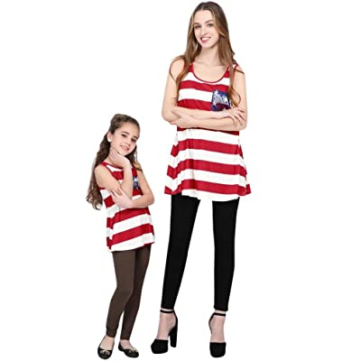 Unpara Summer Matching Mom&Me Outfit Blouse Independence Day Family Tops Stars Striped T-Shirt Clothes