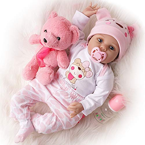 TiaNara Reborn Baby Doll with Toy Bear, Brown Wig Realistic Newborn Girl Doll in Gift Box Gift for 3 4 5 6 Year Old Girls (Pink, 22 Inches) (A Doll That Looks Like My Child)