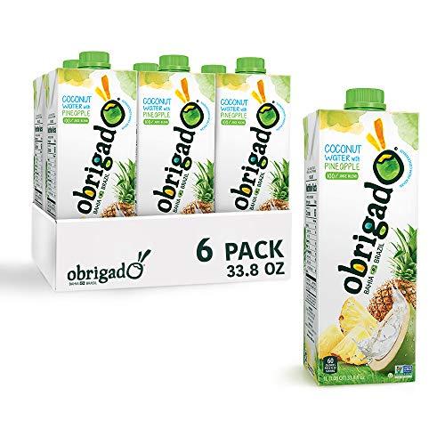Obrigado Premium Brazilian Coconut Water with Pineapple,100% Juice Blend, No Sugar Added, 1 Liter (33.8 oz) (6 Count)